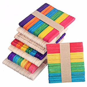 VKTECH 50Pcs Popsicle Wood Sticks Ice Cream Lolly Tools