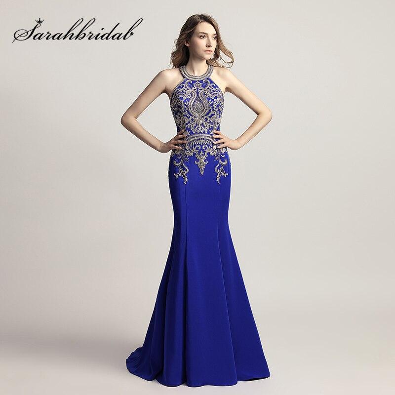 a4a2ae3365 Eleganckie kobiety formalne granatowy długi Mermaid suknie wieczorowe 2019  z koralikami aplikacje satyna Halter szyi Prom sukienki na przyjęcie OL440  w ...