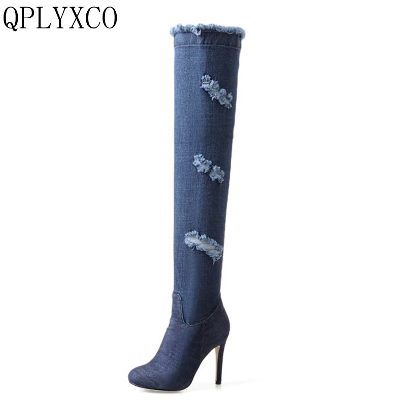 QPLYXCO New Fashion Sexy boots Big Size 33-43 Autumn Winter Long Boots shoes over the knee Boots High quality shoes woman 739-2