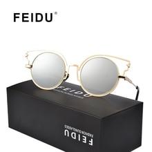 FEIDU 2016 Мода Cat Eye Женщины Солнцезащитные Очки Дамы Бренд Дизайн винтаж Металлический Каркас Солнцезащитные очки Для Женщин Gafas Óculos С коробка