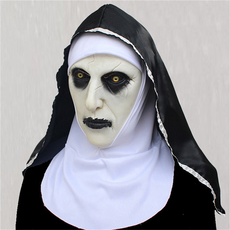 The Nun Latex Mask With Headscarf Crucifix <font><b>Terror</b></font> Face Masks Scary Cosplay Thriller Antifaz Para Fiesta Horror Mascara Cross image