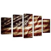 Vintage Retro Cartel de la Pintura de la Lona de La Bandera Americana EE.UU. Bandera Barras Y Estrellas Honrado Nación Símbolo Foto Decoración de La Pared Obras de Arte