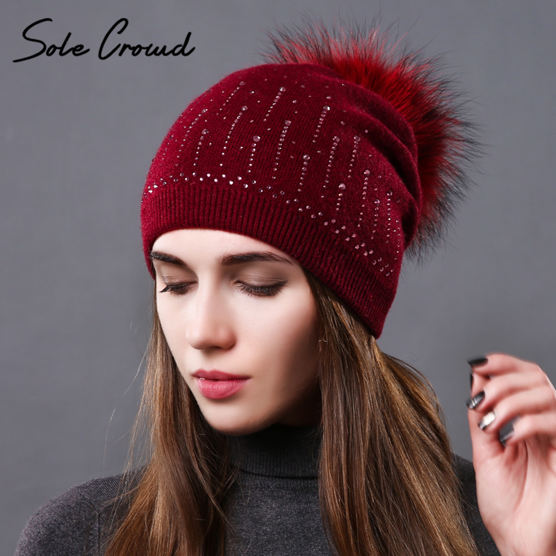 Sole Crowd winter warm wool hats natural raccoon fur pompom caps for women beanies ladies hat fashion knitted rhinestone cap autumn winter beanie fur hat knitted wool cap with raccoon fur pompom skullies caps ladies knit winter hats for women beanies