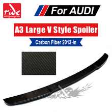 цена на A3 S3 Spoiler Tail Rear Trunk Wing Fits For Audi A3 S3 Sedan V style Highkick True Carbon fiber Rear trunk spoiler wing 2013-18