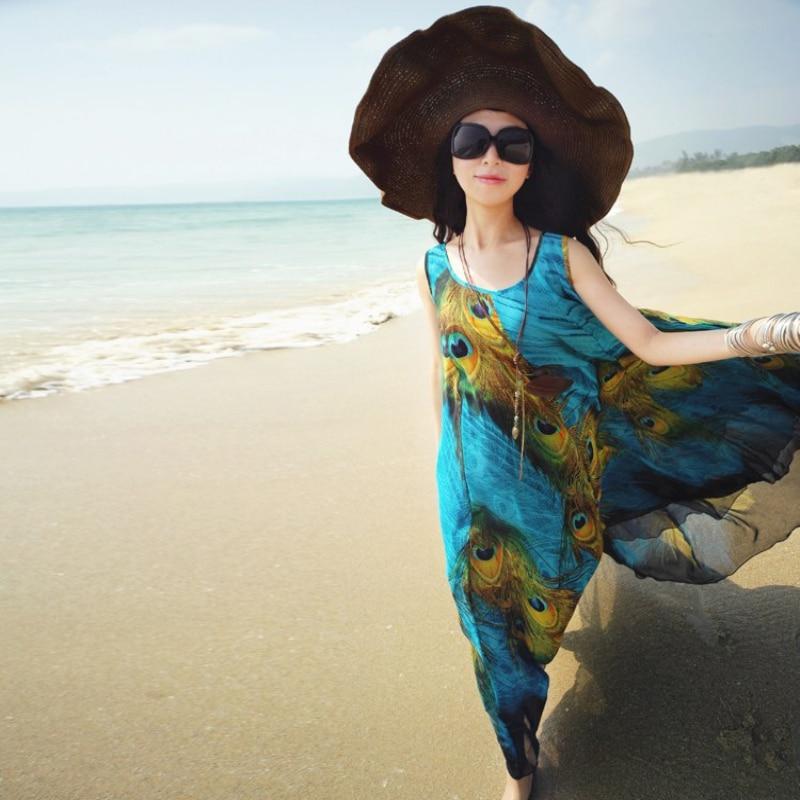 Sommer Frauen Maxi Kleid Boho Lange Pfau Strand Chiffon Kleid M L XL ...