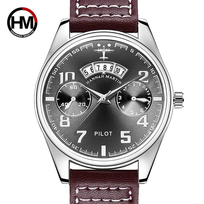 Pilot Watch Military Sports Men Watch Luxury Brand Japan Quartz Men's Wristwatches Leather Creative Male Clock Relogio Masculino