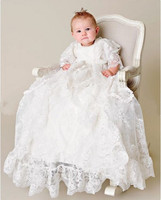 2017 Baby Infant White/Ivory Christening Dress Boys Girls Baptism Gown Flower Lace Applique Free Shipping