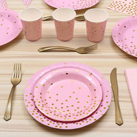 Gold Dot Disposable Paper Dinnerware Set Party Supplies Plates Tissues Knives Forks Cups Banner for Wedding Baby Shower