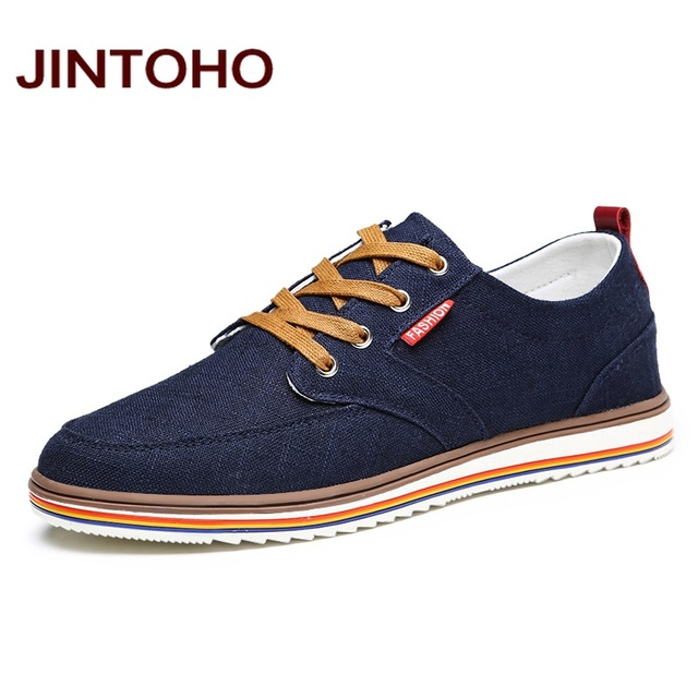JINTOHO حجم كبير تنفس أحذية رجالي مبيعات الدانتيل يصل حذاء قماش العلامة التجارية حذاء رجالي مصمم الصين أحذية رخيصة