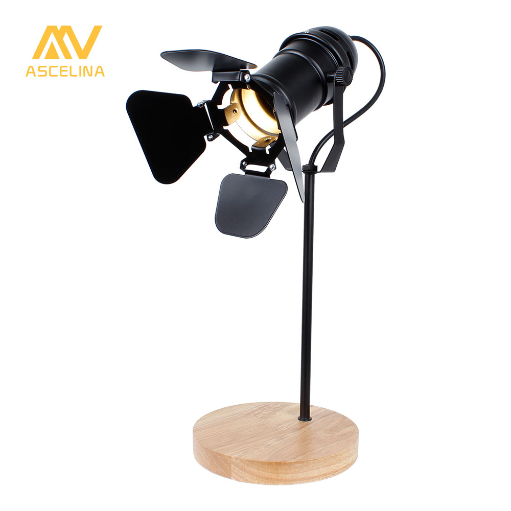 ASCELINA Vintage Led Desk Lamp Wooden Table lamp Flexible Adjustable Reading Light Office Home Decoration Lighting Button Switch ascelina vintage led desk lamp wooden table lamp flexible adjustable reading light office home decoration lighting button switch