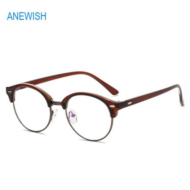 86c5b57137e3c ANEWISH Vintage Rama Ze Stopu dla kobiet okulary drewniane nogi mężczyźni  okulary Okrągłe oprawki okularów Óculos