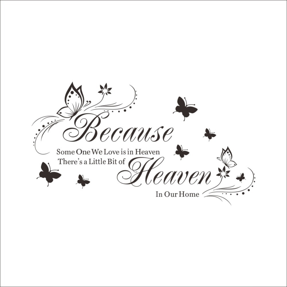 line Shop Because Someone We Love is in Heaven Black Beautiful Butterfly Art Quotes Wall Stickers Decal room decor