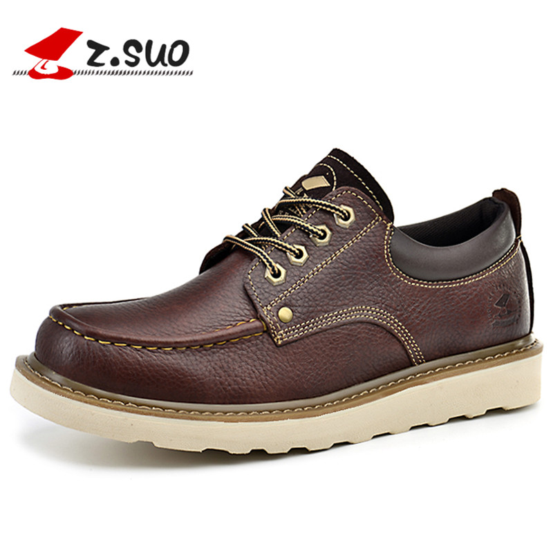 Z. Suo Men's Shoes High Quality Low-cut Leather Casual Shoes 5 Colors Fashion Leather Casual Shoes Man Zapatos Casuales Zs16208 z suo men s shoes leather buckles casual men s shoes fashion high pure color for flat shoes with man zs1609