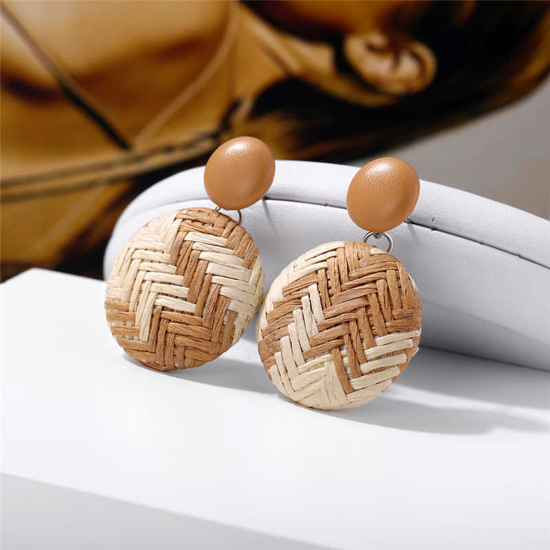 Hot Vintage Geometric Drop Korean Earrings Ethnic Woven Round Earrings For Women Girls 2019 New Style Statement Fashion Jewelry