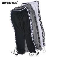 Spring 2018 Side Cross Lace up high waist pants Sexy Drawstring black white harem pants Casual sweatpants elegant joggers Pants