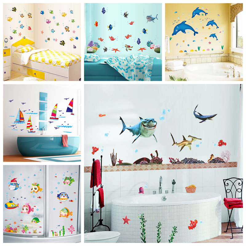 Waterproof wall sticker wall decal adhesive home decor art for Bathroom fish decor