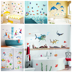 Zs Sticker Waterproof Wall Sticker water resistant Wall Decal Adhesive children Home Decor Mural Bathroom Fish Kids Room