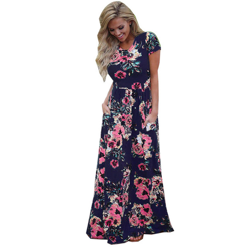 bcb6de78a9df4 Wuhaobo Bohemian Maxi Dress Spring Summer Floral Print Elegant Party Beach  Boho Long Dresses Women Robe Femme vestidos plus size