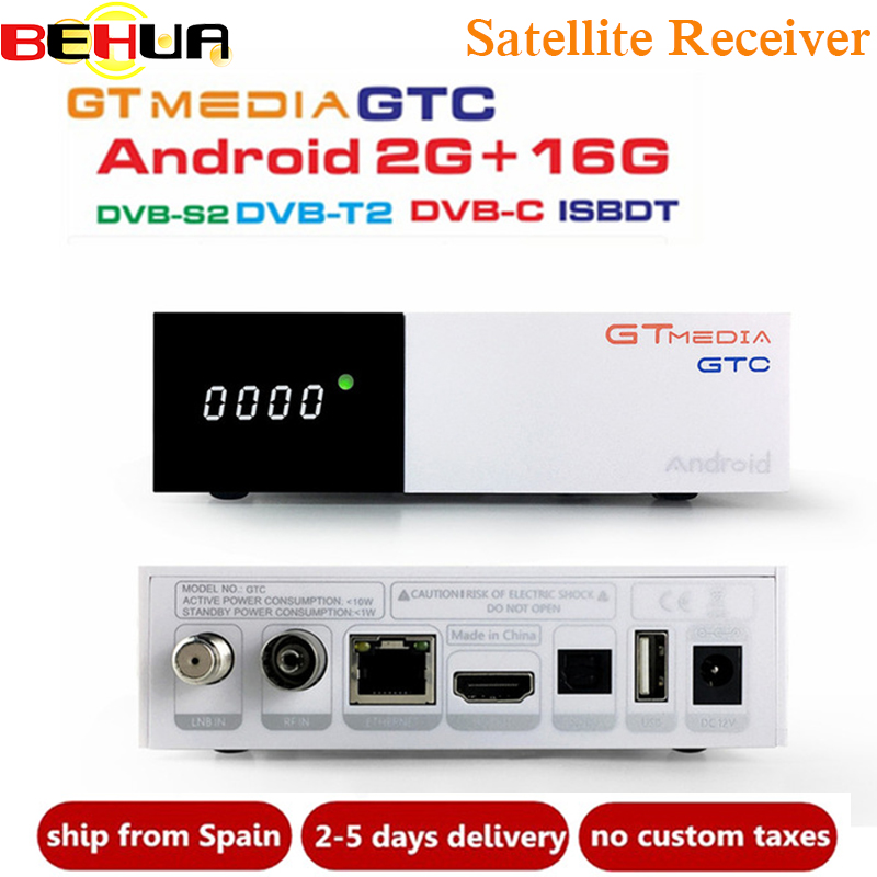 Genuine Freesat GTC 2GB 16GB Satellite Receiver <font><b>DVB</b></font>-<font><b>S2</b></font> <font><b>DVB</b></font>-<font><b>T2</b></font> <font><b>DVB</b></font>-C ISDBT <font><b>Android</b></font> 6.0 <font><b>TV</b></font> <font><b>BOX</b></font> Amlogic S905D BT4.0 Wifi 2.4G 5G image