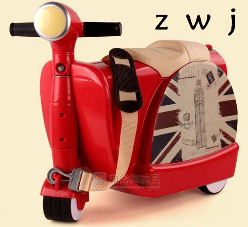 Scooter luggage Children s motorcycle suitcase ride boys and girls baby Trunk Trolley case Travel Box