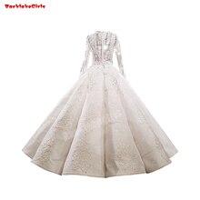 62312 Silver Satin Wedding Dress Long Sleeve Ruffled Gown
