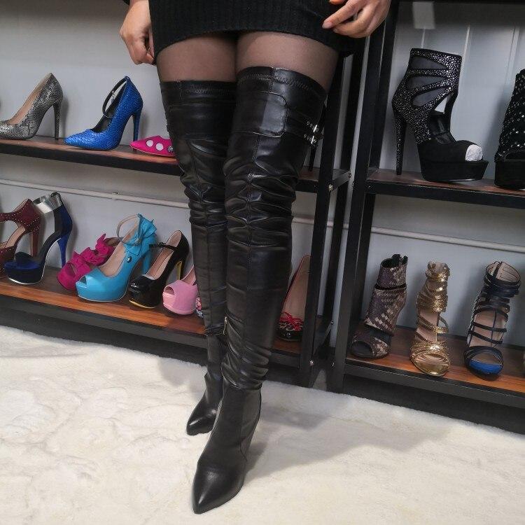 Haut Arrivée 15 D0864 Talons Nous Cuisse Taille 5 Bout Stiletto Noir Haute Printemps Black Plus Sexy Chaussures Nouvelle Femmes Pointu Bottes Yifsion 4Hqw5R8n