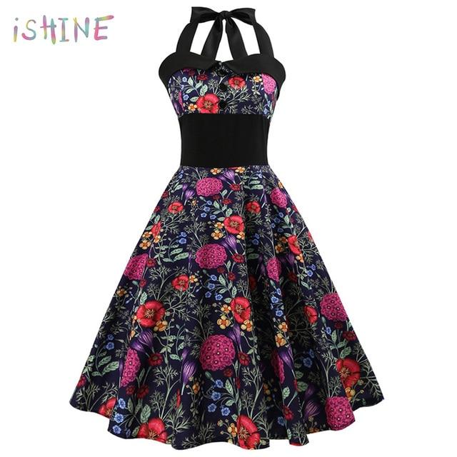faed85663fd6d US $13.02 32% OFF|Vintage Halter Floral Leopard Print Swing Dress Women  Retro Rockabilly Robe Pin Up A Line Party Dresses Vestidos Plus Size 2XL-in  ...