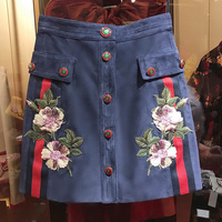 2018 New Summer Suede Skirts Womens Vintage Flora Embroidery Suede Skirt Fashion Buttons High Waist Blue A Line Skirt