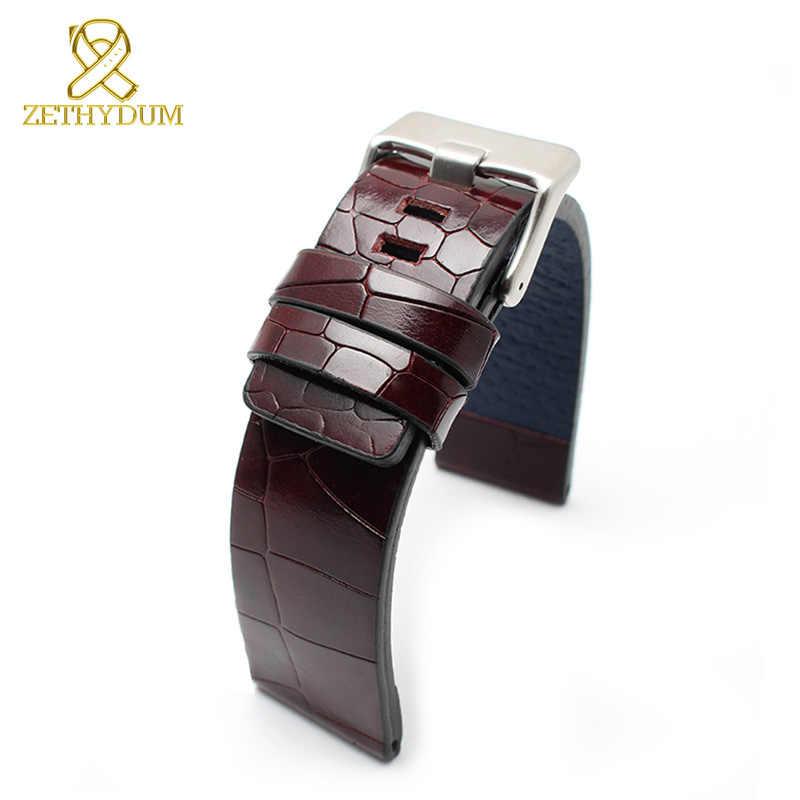 جلد طبيعي سوار 24mm 26mm حزام ساعة اليد سميكة مربط الساعة المعصم باند رجل الساعات العلامة التجارية ووتش اكسسوارات