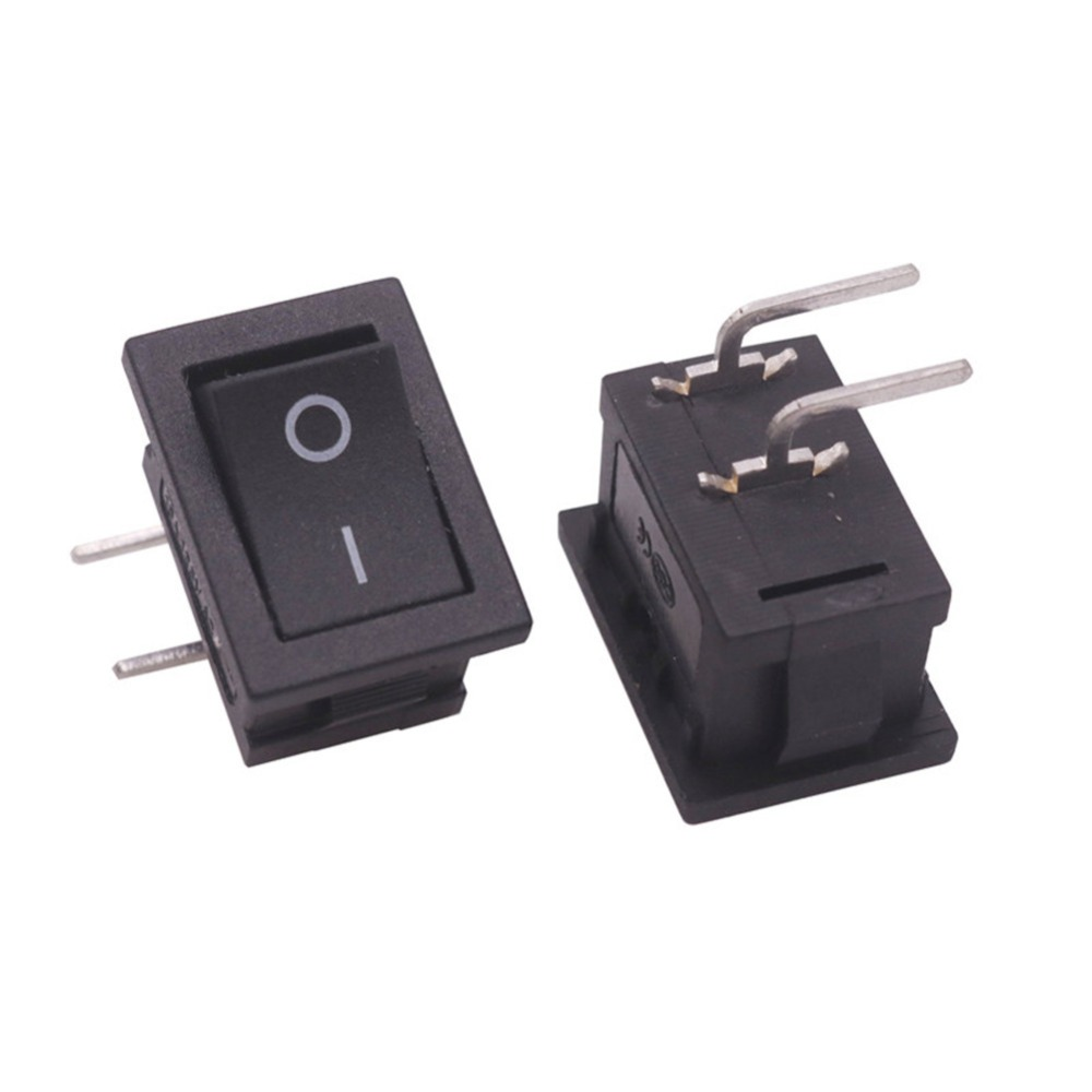 50 Pcs 2 Pin Bending Feet Rocker Switch 20*15*8mm 6A 250V 10A 125V AC On / Off Black 90 Degree Curved Plug 4 Plugs Switch