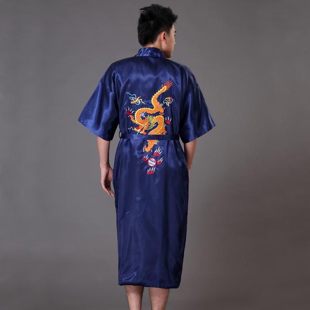 Azul marinho Bordado Tradicional Chinesa Do Dragão dos homens Robe De Cetim Sleepwear Yukata Kimono Bath Vestido Sml XL XXL do vintage XXXL