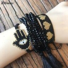 Rttooas Hamsa Fatima Hand Friendship Bracelet Women Evil Eye Lucky Tassel Fashion Handmade Crystal Beads