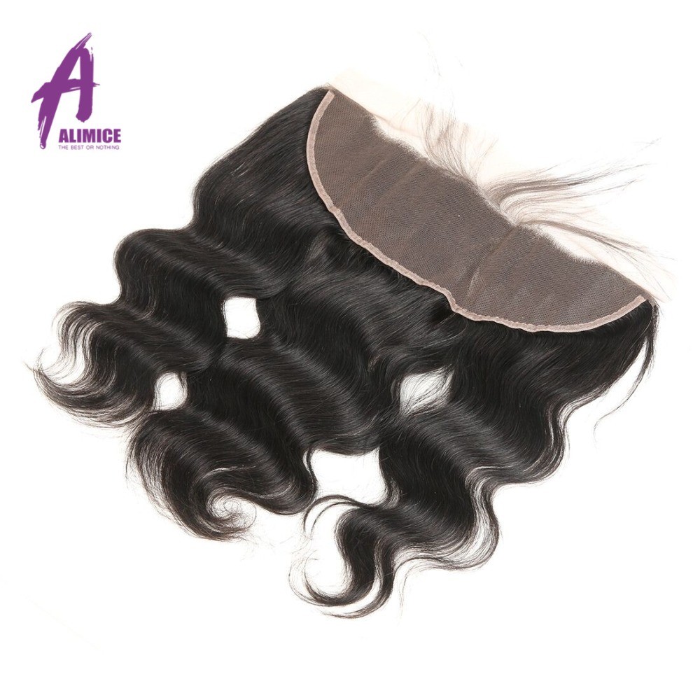 Alimice Lace Frontal Closure Indian Hair Body Wave 13x4 FreeMiddleThreeSide Part Human Hair Closure With Baby Hair 8-24inch (20)