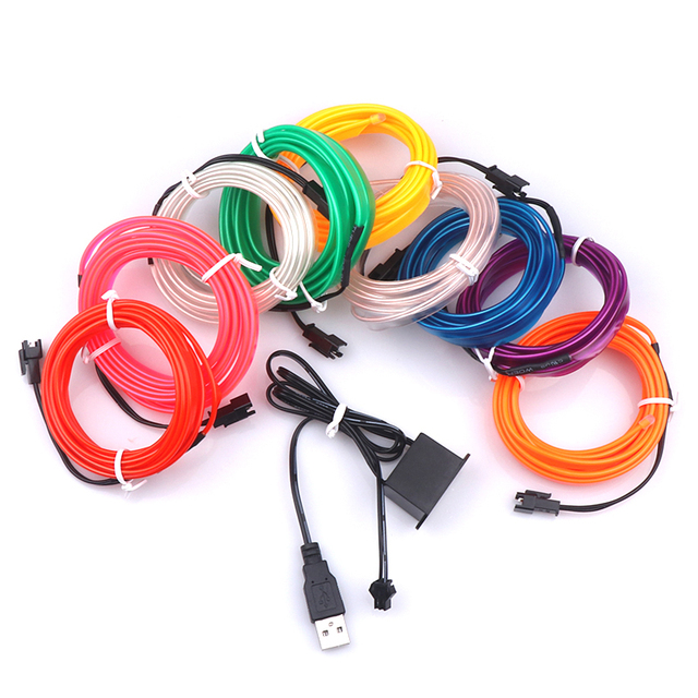 1M/2M/3M/5M Car Interior Lighting Auto LED Strip Garland EL Wire Rope Tube Line flexible Neon Light With 12V USB Cigarette Drive 1