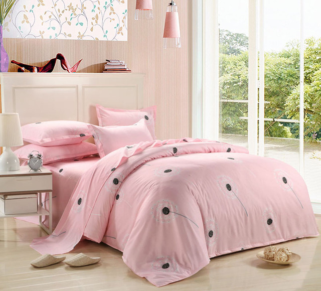 2017 New Bedding Set Duvet Cover Set For USA Europe,4-7Pcs bedclothes For Russia Pink Dandelion
