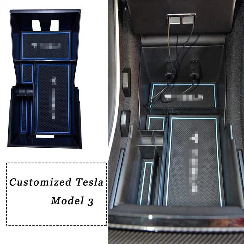 Upgrade RSZX Car Center Console Organizer Tray for Tesla Model 3 Storage Armrest Box Phone Mount Pocket Sunglass Holder Container OEM Black