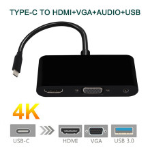Usb C Adaptor Tipe C Ke HDMI 4K + USB 3.0 + VGA Converter Adaptor untuk Samsung Galaxy S8 /S9/Macbook(China)