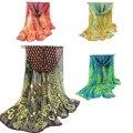 Pavo real Impreso Gasa Larga Bufanda Mujeres Otoño Invierno Bufandas de Colores Ancha 2017 de Bohemia Elegante Del Partido de Tarde Capes Bandana