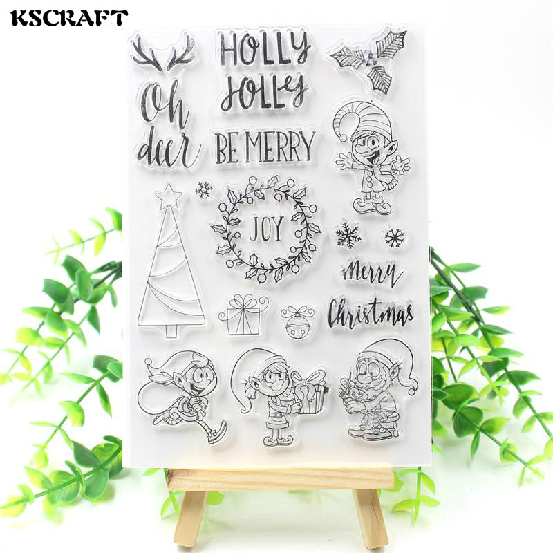 KSCRAFT Merry Christmas Transparent Clear Silicone Stamp/Seal for DIY scrapbooking/photo album Decorative clear stamp sheets kscraft love travelling transparent clear silicone stamp seal for diy scrapbooking photo album decorative clear stamp sheets
