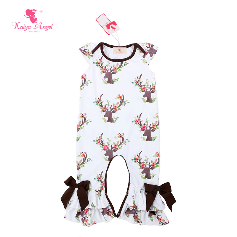 804378bd8 Kaiya Angel Christmas Brown Deer Short Sleeve Baby Romper Jumpsuit ...