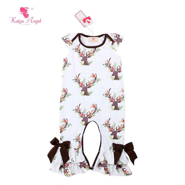 a0245e31355e Kaiya Angel Christmas Brown Deer Short Sleeve Baby Romper Jumpsuit Kids  Newborn Clothes Baby Rompers