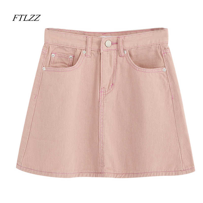 FTLZZ Casual Vita Alta A-line Denim Skirt Donna Solid Pocket Mini Pacchetto Hip Gonna Rosa Bianco Nero Verde