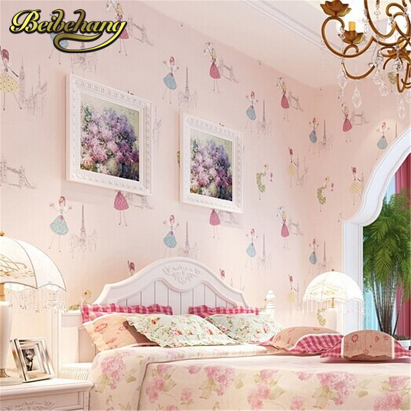 beibehang Modern Cartoon Kid wallpaper children papel de parede roll Pink Blue 3D Wall paper Ballet girl princess room bedroom цена