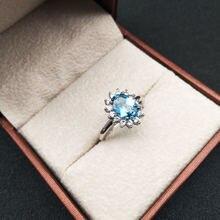 Женское кольцо с голубым топазом ювелирное изделие из стерлингового