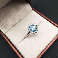 925 Sterling Silver blue topaz Rings fashion gift for women jewelry Fine Jewelry j060801agb
