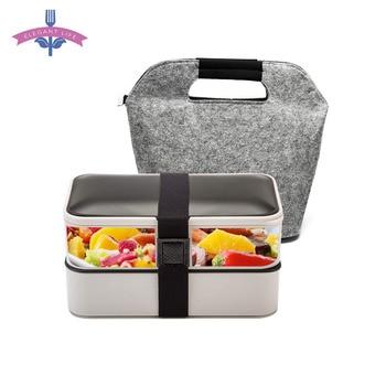 Boîte à Bento Portable étanche | Conteneur de stockage des aliments de 1200ML boîte à Bento Portable à 2 couches avec sac cadeau