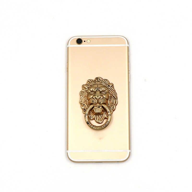 Soporte para teléfono inteligente soporte para teléfono móvil para iPhone iPad Xiaomi todo teléfono 360 grados León Metal dedo anillo soporte