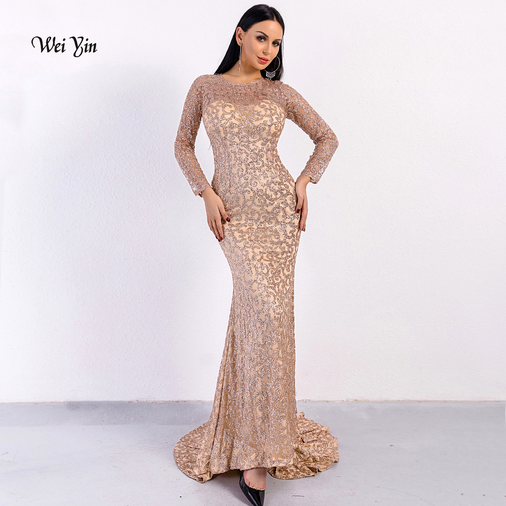 weiyin Shiny Gold Sequins Dubai Mermaid   Evening     Dress   Long Sleeves Arabic Formal Prom   Dresses   2019 Bodycon Maxi   Dress   Party Gown