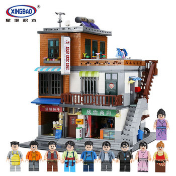 XingBao 01013 Blocks 2706Pcs Genuine Creative guest House The Toys and store Set Building Blocks Bricks Toy Model Gift for Child
