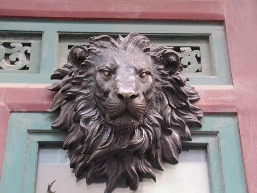 """Označeno Obrovská socha lva BRASS socha umění visící zeď H """"18.1 velkoobchod továrna BRASS Arts outlet"""